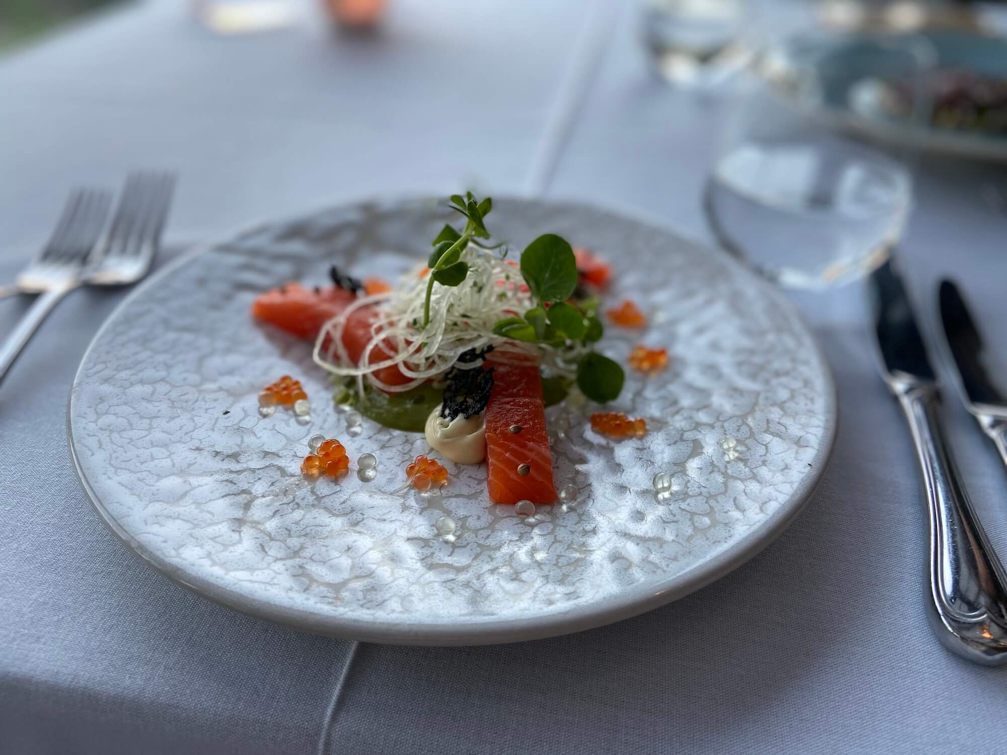 """Naartjcello"" cured and cold smoked Franschhoek trout"